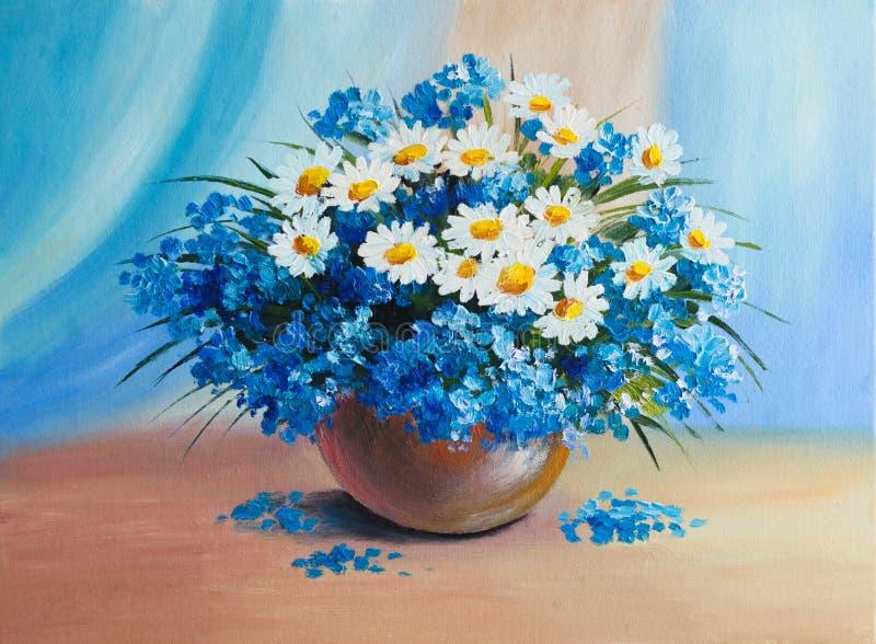 Olje- målning - stilleben, en bukett av blommor stock illustrationer
