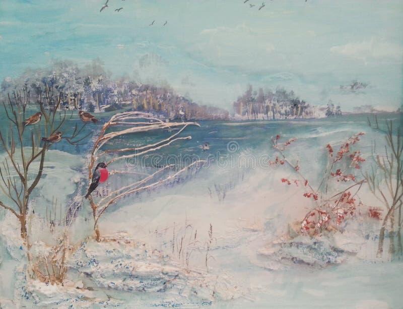 Olje- målning, vinterträd, flod och fåglar stock illustrationer