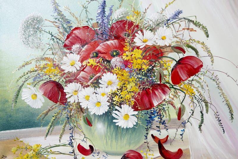 Olje- målningar på tema på en bukett av sommarvildblommor arkivbild