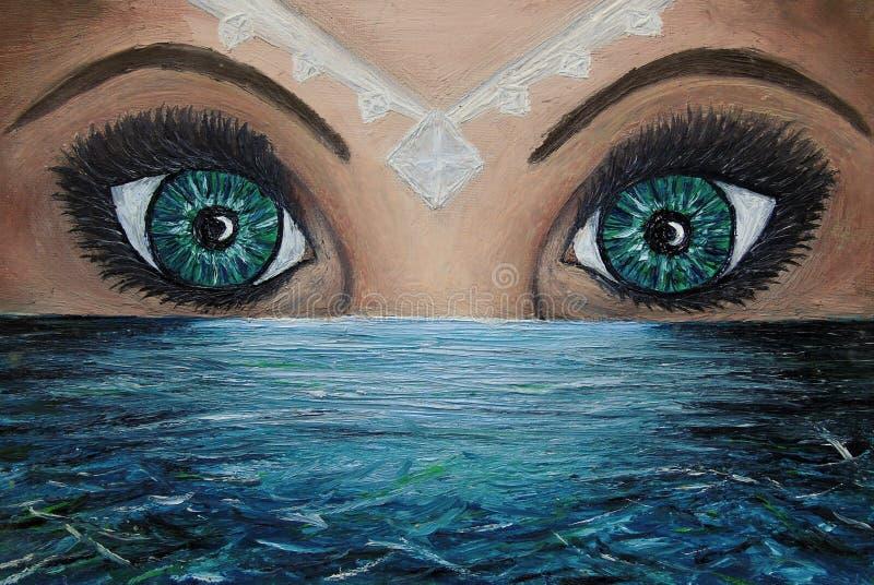 Olje- m?lning av tv? ?gon ovanf?r havet och en vit juvel p? kvinnan v?nder mot som exponerar vattnet royaltyfri illustrationer