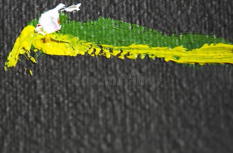 Olje- m?lningar Abstrakt begrepp Texturera bakgrund Svart gult, grönt, vitt Kork?pautrymme Makro N?rbild vektor illustrationer