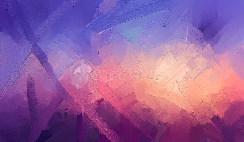 Olje- m?lningar f?r modern konst med guling, r?d f?rg Abstrakt samtida konst f?r bakgrund royaltyfri illustrationer