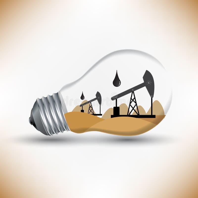 Olje- mekanismarbete för energi för lampidévektor vektor illustrationer