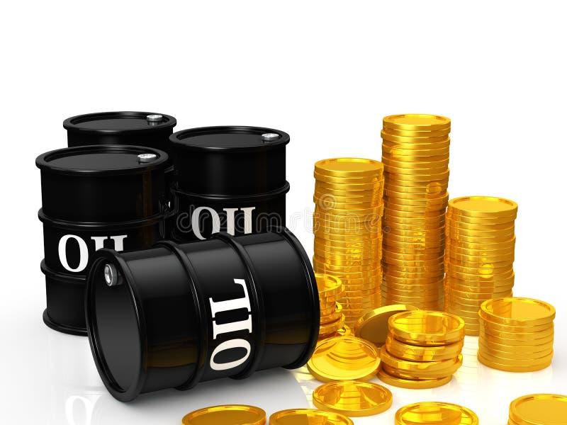 Olje- pengar stock illustrationer