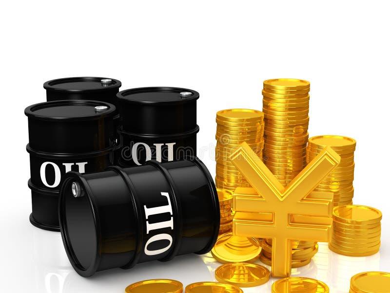Olje- pengar royaltyfri illustrationer