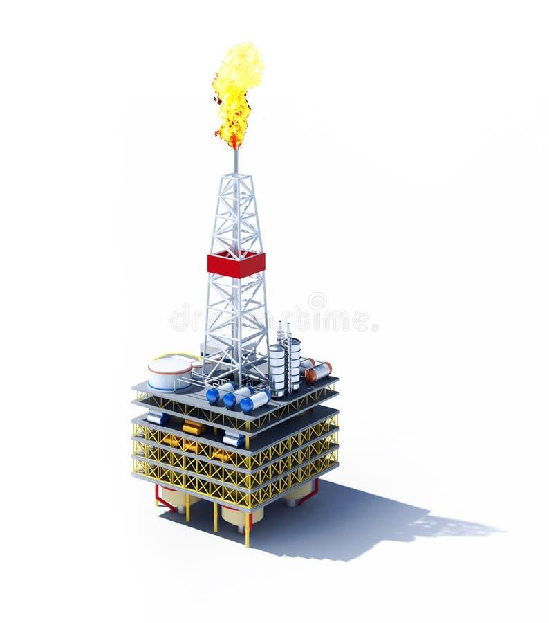 Olje- plattform som isoleras på vit stock illustrationer
