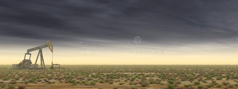 Olje- pump i ett landskap vektor illustrationer