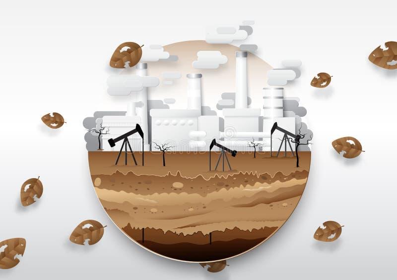 Olje- pump och bränsle med oljeraffinaderiet global värme för begrepp royaltyfri illustrationer