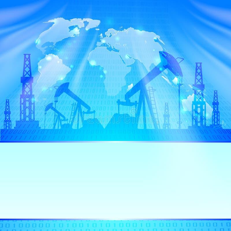 Olje- pump på blått. vektor illustrationer