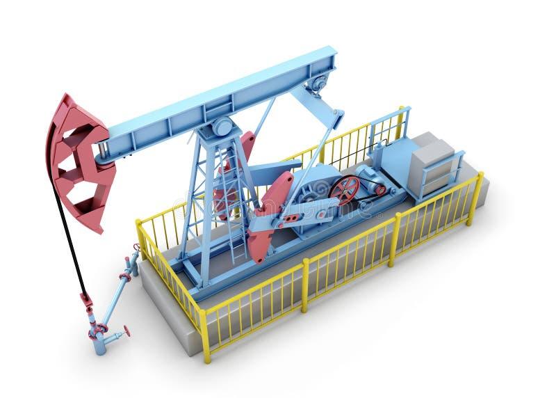Olje- pump på en vit stock illustrationer