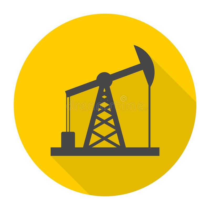 Olje- Rig Icon, stålarsymbol för olje- pump med lång skugga vektor illustrationer