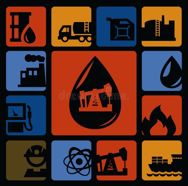 Olje- symboler stock illustrationer