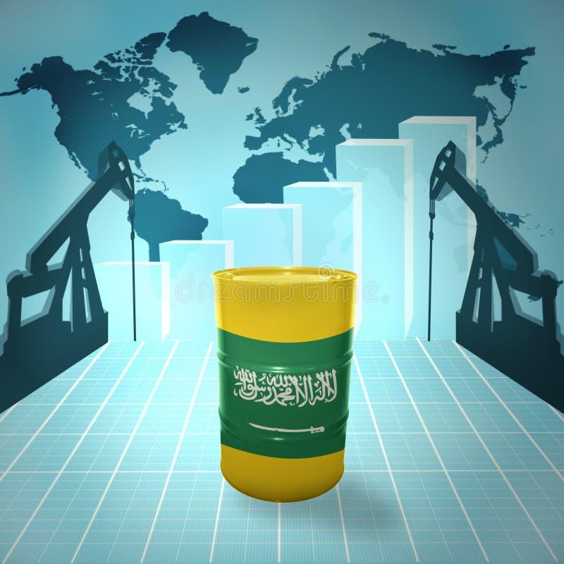 Olje- trumma med den Saudiarabien flaggan royaltyfri illustrationer