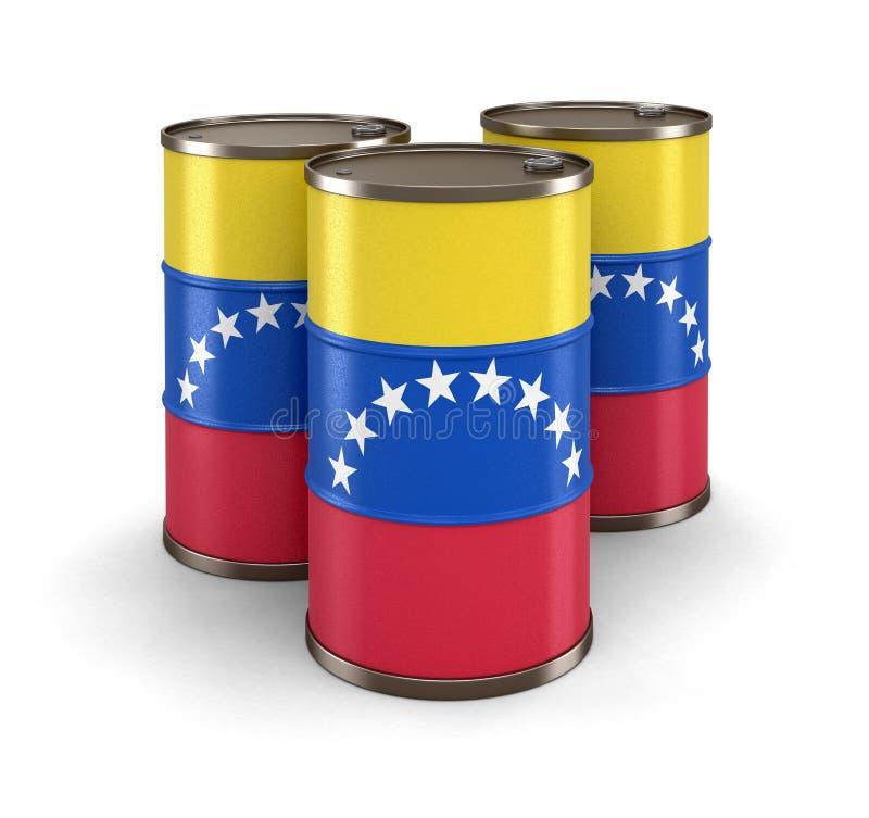 Olje- trumma med flaggan av Venezuela vektor illustrationer