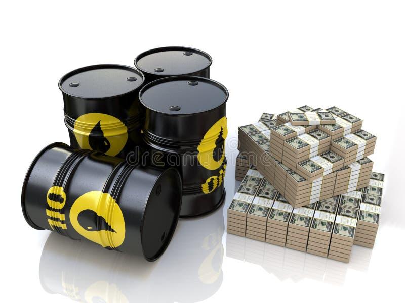 Olje- trumma och pengar royaltyfri illustrationer