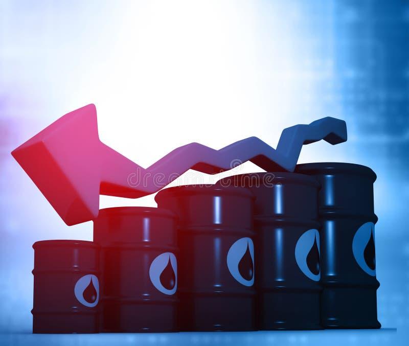 Olje- trummor med den fallande oljeprisgrafen stock illustrationer