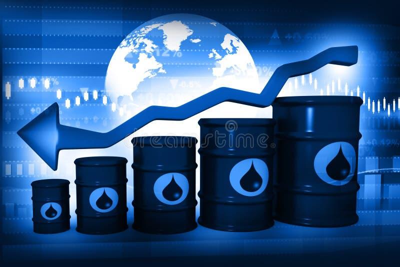 Olje- trummor med den fallande oljeprisgrafen royaltyfri illustrationer