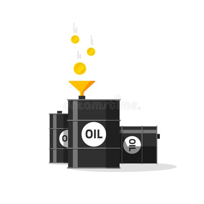 Olje- trummor med tratt, guld- mynt som faller till olje- behållare royaltyfri illustrationer