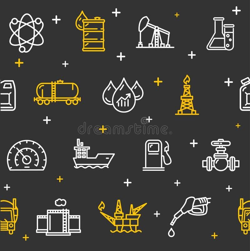 Oljeindustribakgrundsmodell vektor stock illustrationer