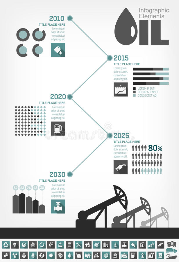 OljeindustriInfographic Timeline royaltyfri illustrationer