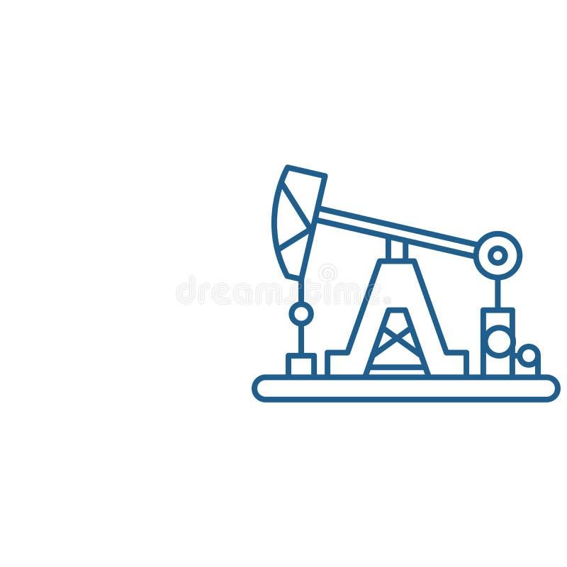Oljeindustrilinje symbolsbegrepp Plant vektorsymbol för oljeindustri, tecken, översiktsillustration stock illustrationer