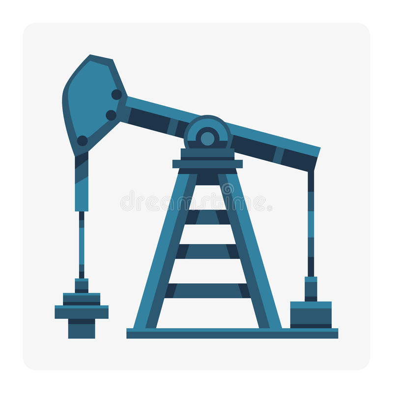 Oljeindustriproduktionstation som drar ut tecknad filmsymbolsenergi som bearbetar fabriken för teknologi för plattformoljaborrand royaltyfri illustrationer