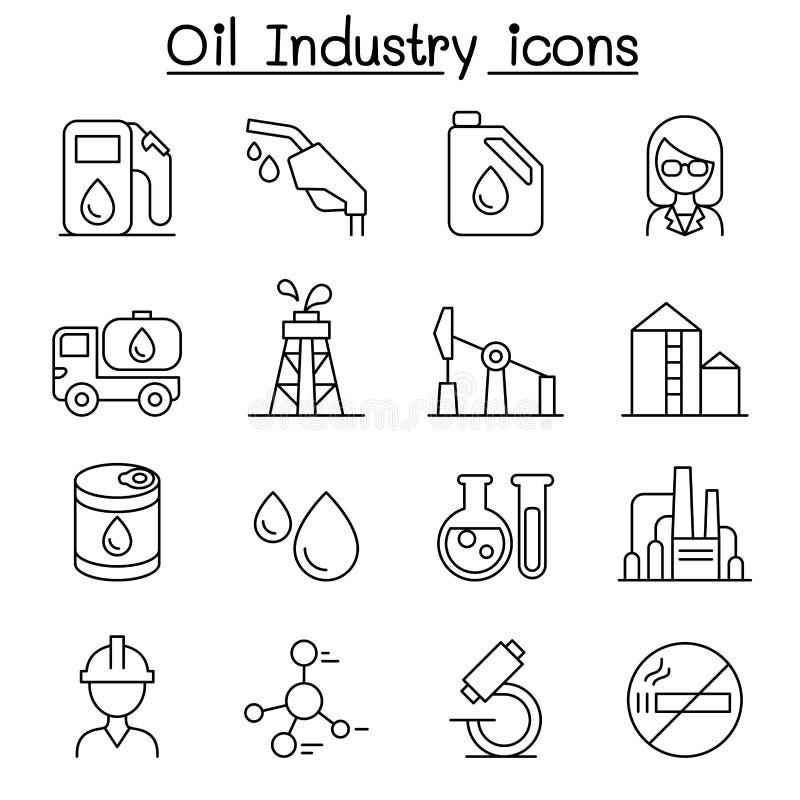 Oljeindustrisymbolsuppsättning i den tunna linjen stil vektor illustrationer