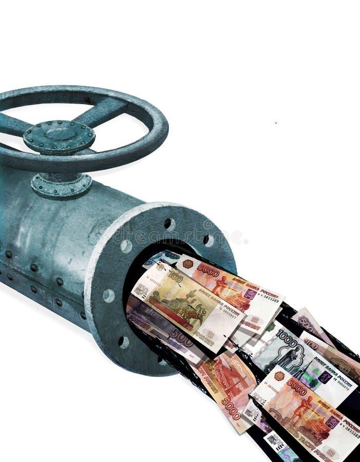 Oljeinkomster Fragment av ett metallrör med en ventil Flödet av att läcka olja med pappers- anmärkningar av Ryssland rubel av 199 royaltyfri illustrationer