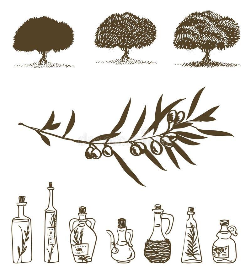 oljeolivgrön vektor illustrationer