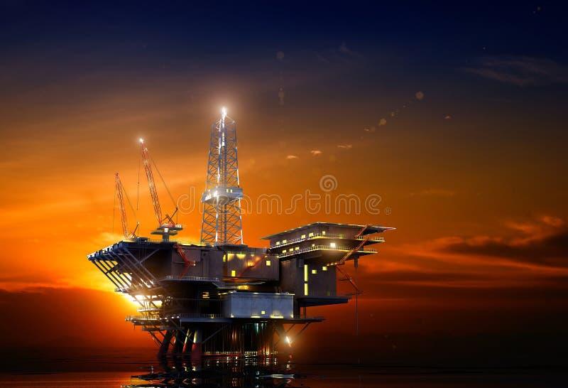 oljeplattform stock illustrationer