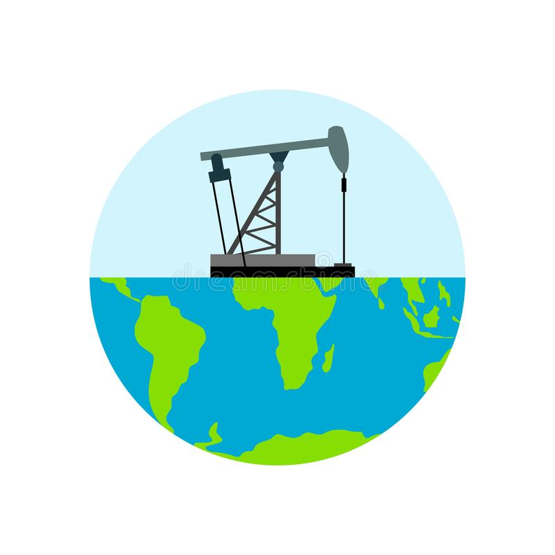 Oljeplattform- och jordplanet Oljeproduktion industriell oljaenergi stock illustrationer