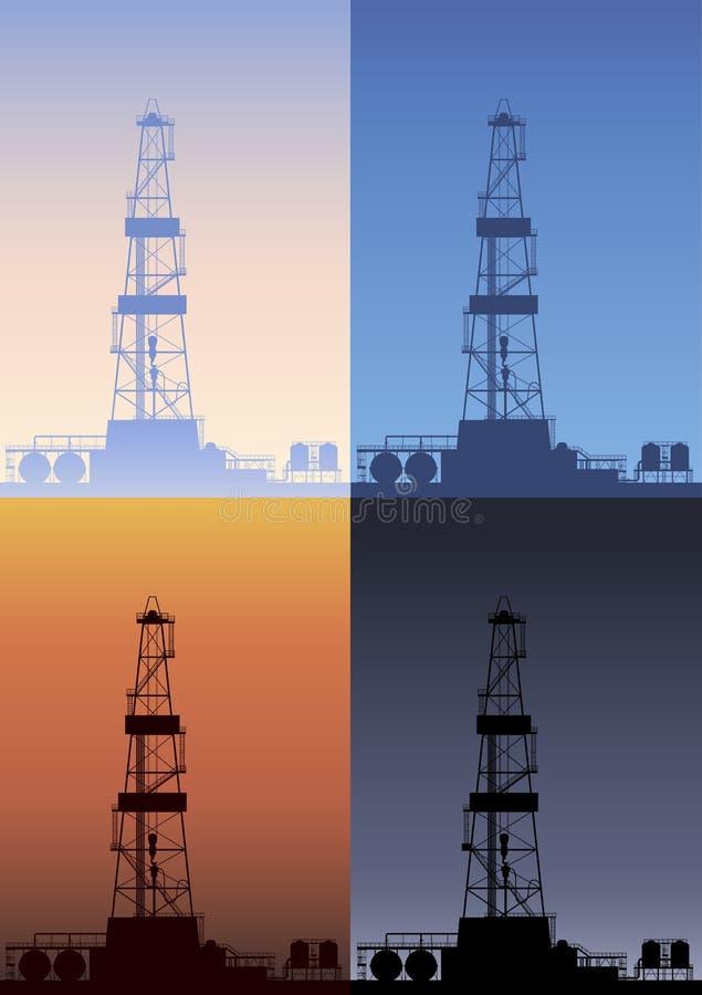 Oljeplattform på olika tider av dagen. vektor illustrationer