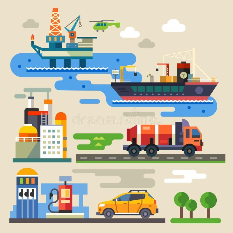 Oljeplattform tanka för bil stock illustrationer