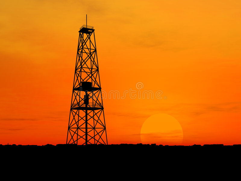 Download Oljeplattformsilhouette fotografering för bildbyråer. Bild av industriellt - 3545487