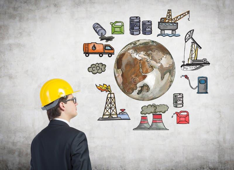 Oljeproduktion miljöbelastning vektor illustrationer