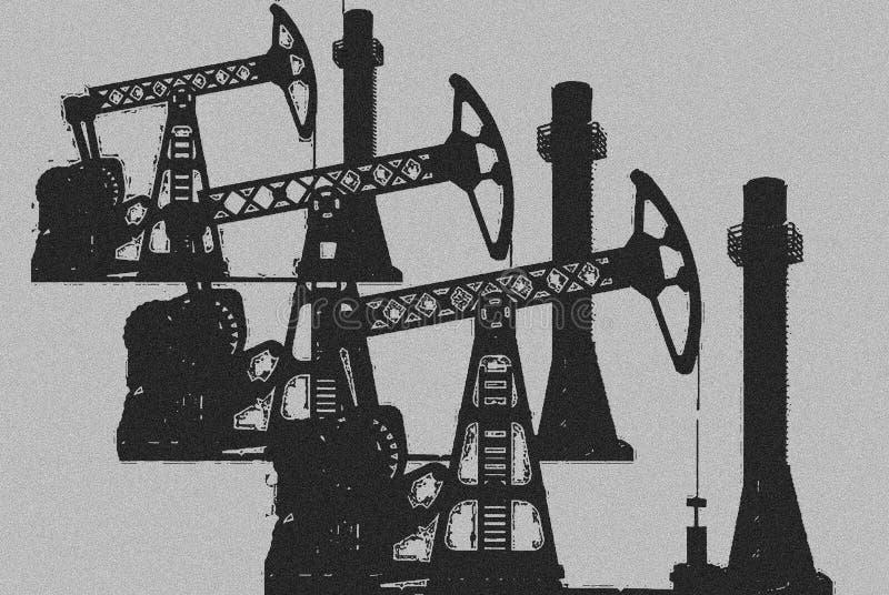 Oljeproduktion: oljeplattformar stiliserad bild arkivbild