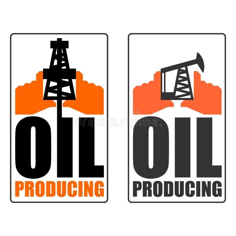 Oljeproduktionlogo tecken för oljabransch Logo för bensinpr vektor illustrationer