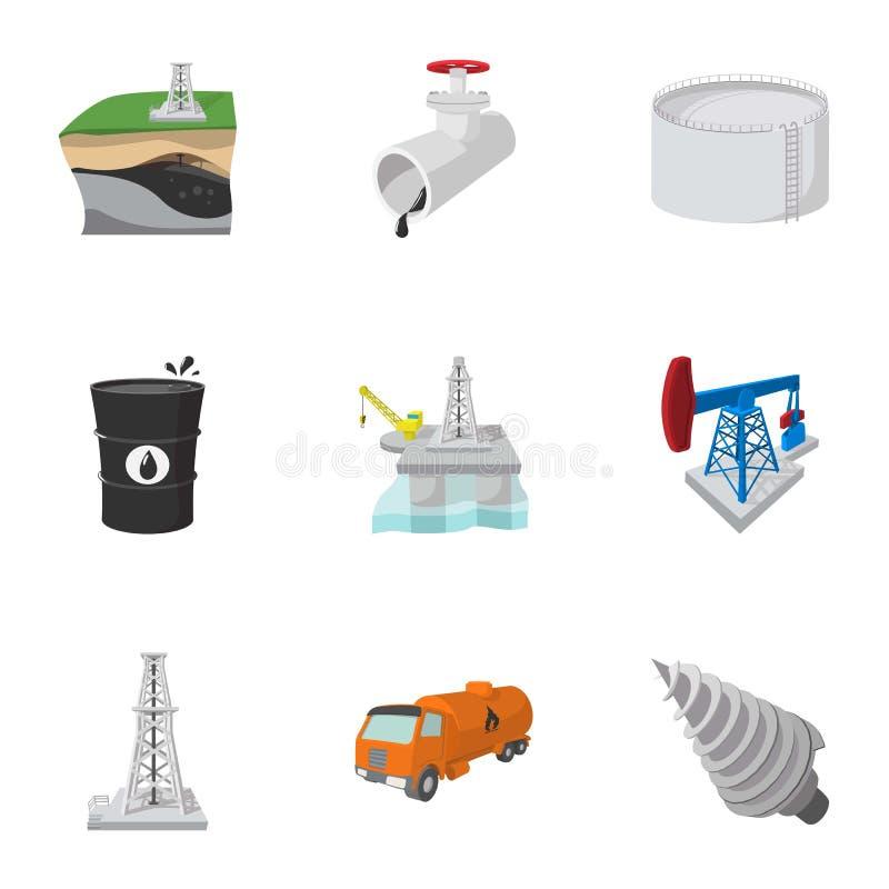 Oljeproduktionsymboler uppsättning, tecknad filmstil stock illustrationer