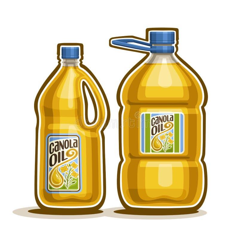 Oljer stora flaskor för vektorlogo 2 med Canola stock illustrationer