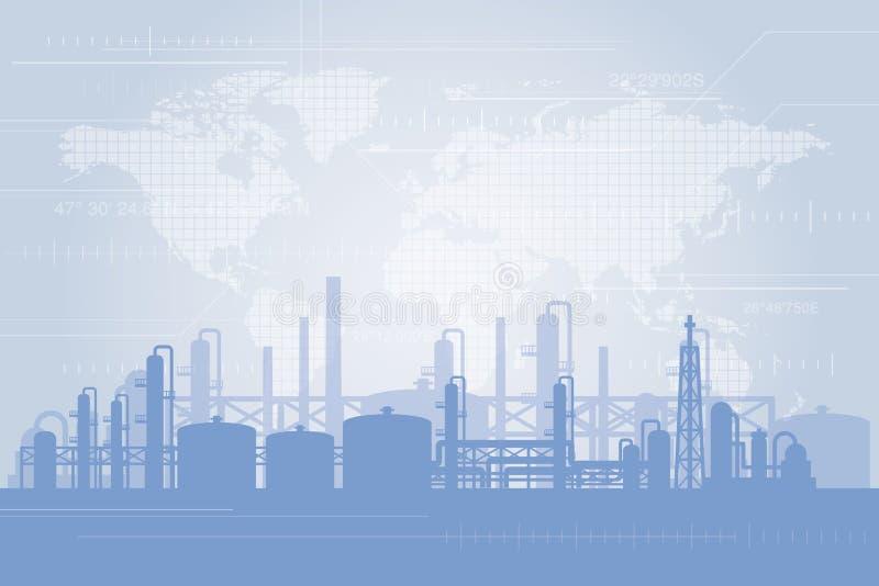 Oljeraffinaderibakgrund stock illustrationer