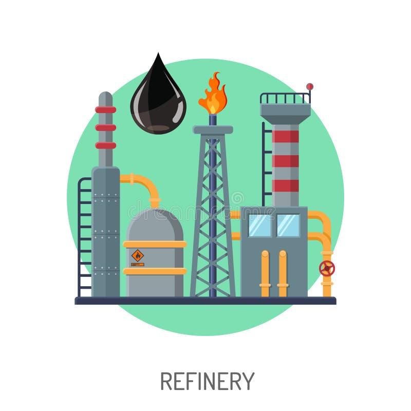 Oljeraffinaderisymbol royaltyfri illustrationer