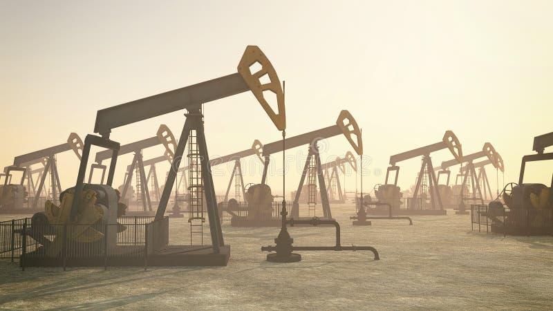 Oljesonder Flera bensinsonder på fält royaltyfri illustrationer