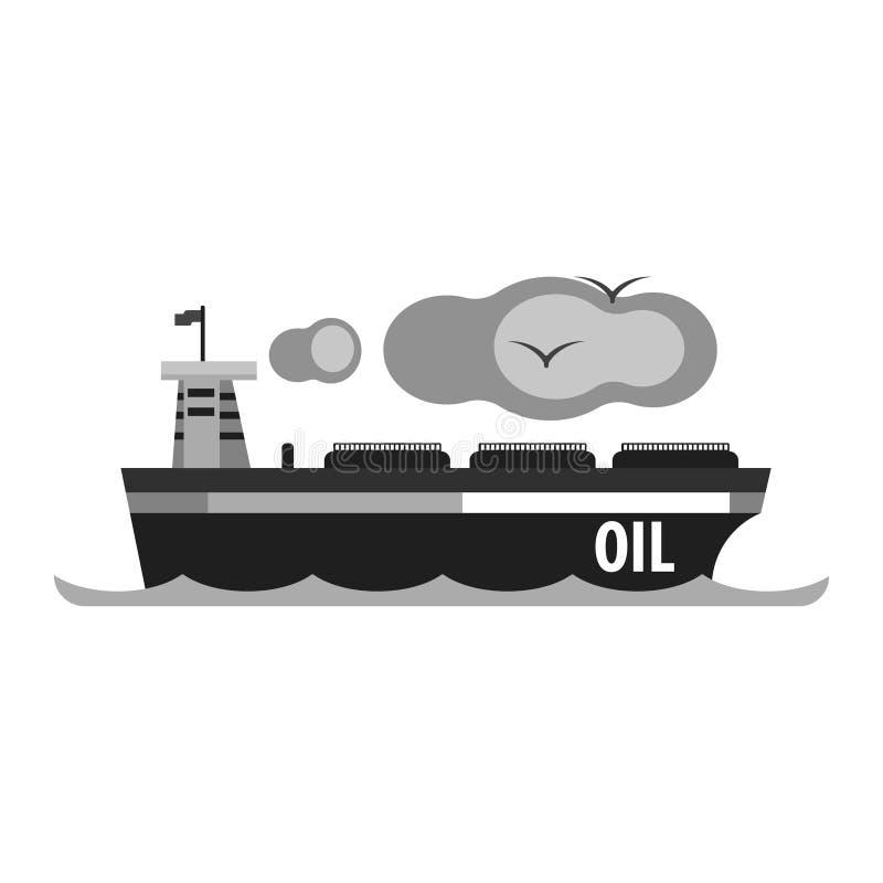 Oljetankerskepp Produktion och trans. av olje- och olje- produkter Plan vektorillustration royaltyfri illustrationer