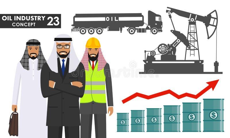 Oljor som flödar inom timglaset Illustrationen av den arabiska muslimaffärsmannen, teknikern och konturbensin åker lastbil, den o stock illustrationer