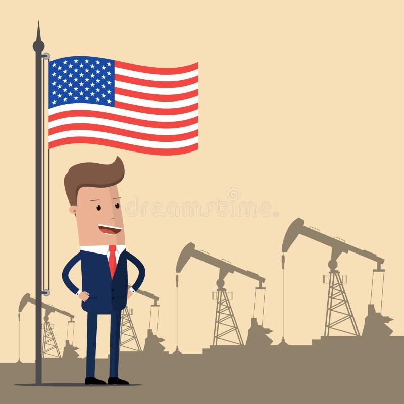 Oljor som flödar inom timglaset Stolt affärsman eller en politiker under amerikanska flaggan på bakgrunden av oljapumpar Vektor I royaltyfri illustrationer