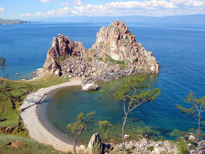 Olkhon ö på Lake Baikal Den största sötvattens- sjön i världen royaltyfri bild