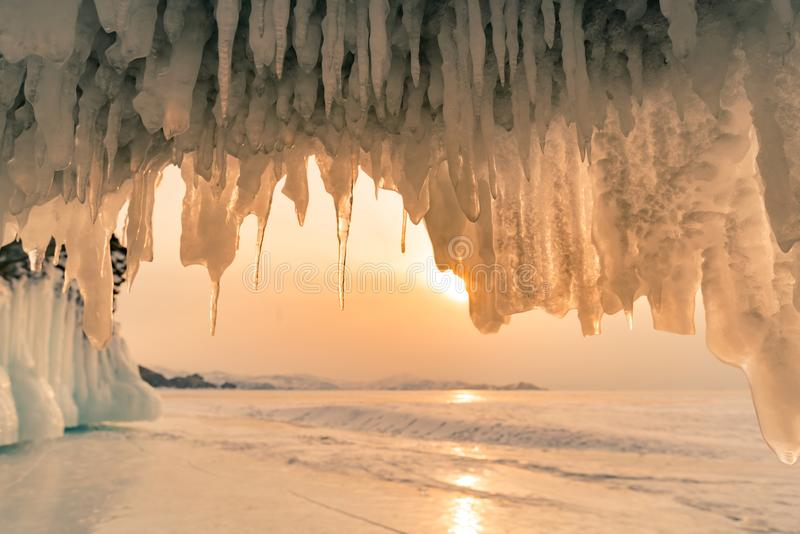Olkhon ice cave over Baikal water lake in winter season royalty free stock image