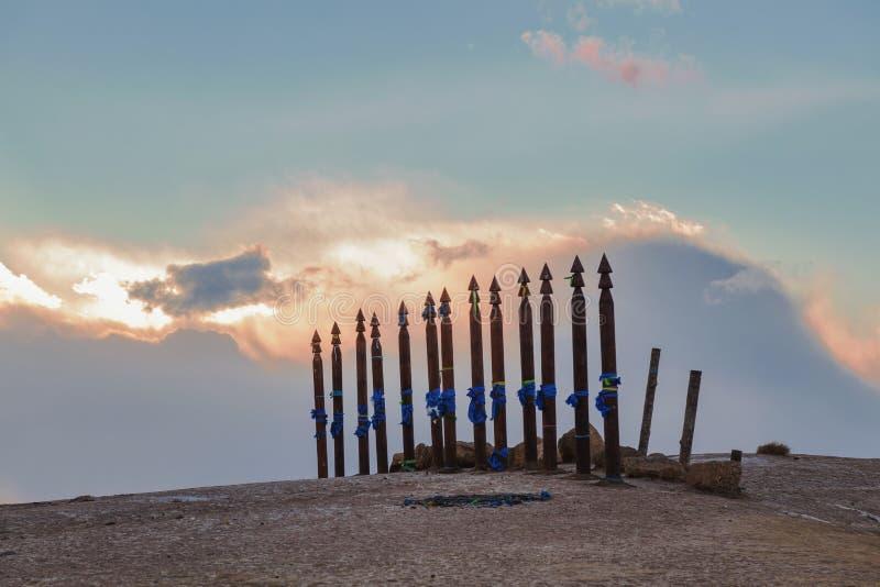 Olkhon, Russia, Buryat traditional pagan holy poles by Lake Baikal. stock photography