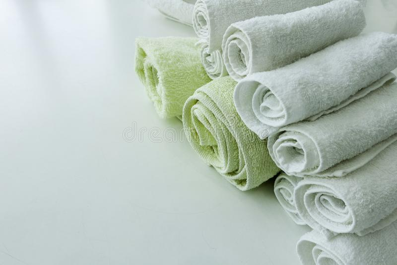 Oll up Hand towels. Oll up  Hand towels on white table royalty free stock image