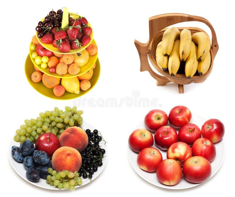 ?ollage van fruit op plaat stock afbeelding